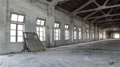 Empty industrial loft in an architectural background with bare cement walls, Stock Footage