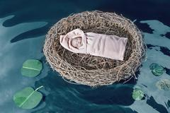 High angle view of baby girl in bird's nest floating on pond - stock photo