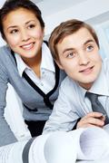 Attentive co-workers Stock Photos