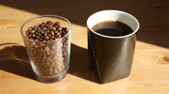Coffee cup and coffee beans Stock Footage