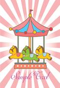 Greeting card with merry-go-round / carousel icon - stock illustration