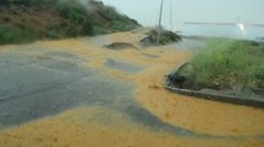 Flooded road after storm heavy rains Stock Footage