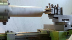 Lathe working in slow motion Stock Footage