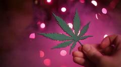 pot leaf artsy - stock footage