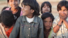 Happy laughing children, India, close up, shallow DOF - stock footage