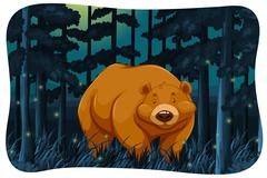 Bear and fireflies Stock Illustration