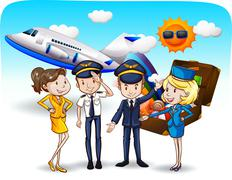 Cabin crew - stock illustration