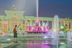 Fountain in National Park of Kazakhstan, Almaty - stock photo