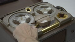 Old Tube Reel to Reel Tape Recorder - stock footage