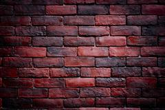 Weathered texture of stained old dark brown and red brick wall background, gr - stock photo