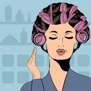 Stock Illustration of Woman with curlers in their hair