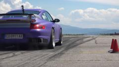Sports, low view drag race challenge cars on race track, uhd Stock Footage