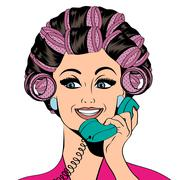 Stock Illustration of Woman with curlers in their hair talking at phone, isolated on white