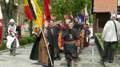 Stock Video Footage of Team of medieval knights from Belgium at Medieval Combat World Championships