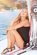 Stock Photo of Relaxation on sailboat