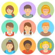 Flat Style Happy Smiling Different Races Kids Faces - stock illustration