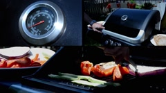 Grilled vegetables  in Barbeque, collage Stock Footage
