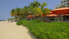The beautiful terrace at the Doctor's Cave Beach Club in Jamaica - stock footage