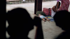 Little child sleeping on the platform. Stock Footage