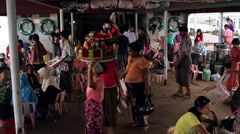 Spontaneous market on board the ship. Daily life in Myanmar. - stock footage