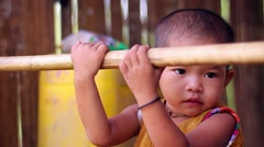 Child in the jungle. Child living in a tribe. Stock Footage