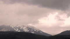 Winter panorama over the mountains. - stock footage