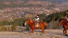 Gutsul rides around the city. Stock Footage