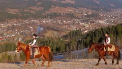 Gutsul go round the city on horses. Stock Footage