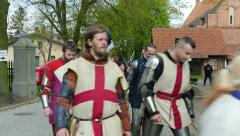 Stock Video Footage of Team of medieval knights from England at Medieval Combat World Championships