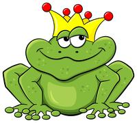 frog prince waiting to be kissed - stock illustration