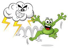 Cartoon frog escapes a thunderstorm Stock Illustration