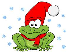 Cartoon frog with hat and scarf in winter Stock Illustration