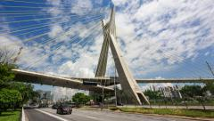 Timelapse View of the Octavio Frias de Oliveira Bridge in Sao Paulo, Brazil Stock Footage