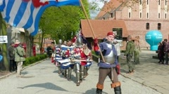 Stock Video Footage of Team of medieval knights from Luxembourg at Medieval Combat World Championships