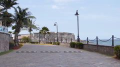 San Jeronimo Oceanwalk seaside walkway in Condado-San Juan-Puerto Rico 1 - stock footage