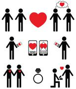 Plain impersonalized  falling in love and engagement icons set - stock illustration