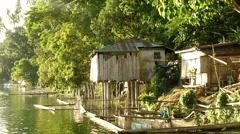 Stock Video Footage of Lake Dwellings tracking shot