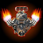 Vector Cartoon Turbo Engine - stock illustration
