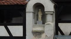 Romania. Bran. Dracula castle. Statue. - stock footage