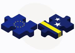 European Union and Curacao Flags in puzzle - stock illustration