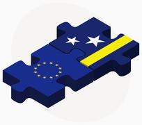 Stock Illustration of European Union and Curacao Flags in puzzle