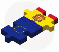 Stock Illustration of European Union and Andorra Flags in puzzle  isolated on white background
