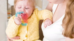 Happy rattle in baby hands Stock Footage