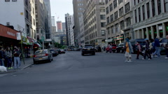Group of New Yorkers, people crossing street at crosswalk Canal Street NYC 4K Stock Footage