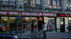 Papaya Dog fantasy sex tattoo shops Waverly Place Village West 4th St 4K NYC Stock Footage