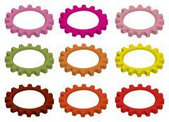 Colorful Circular Cogwheel Gears Vector Illustration Stock Illustration