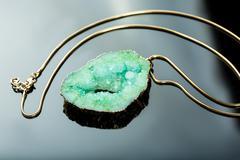 Green gem necklace Stock Photos