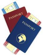 Stock Illustration of passport and airline ticket illustration