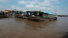 Floating market,   Vietnam Stock Footage