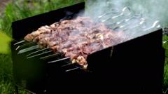 Preparation of a shish kebab Stock Footage